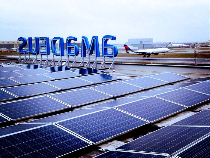 Commercial solar panels at an airport
